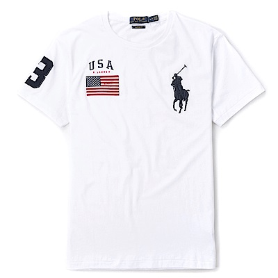Polo Ralph Lauren 年度熱銷電繡大馬圓領素面短袖T恤-白色