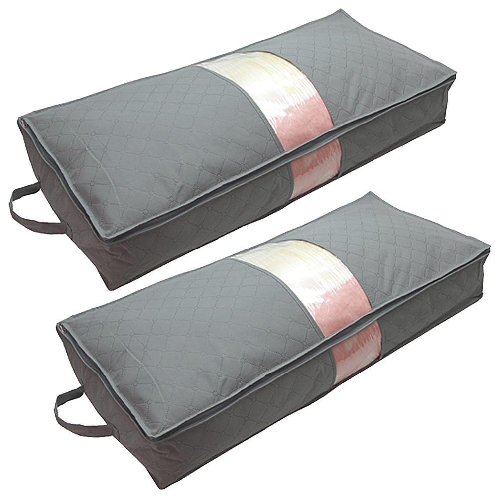 月陽超值2入灰色長85CM竹炭棉被衣物床下收納袋整理箱(N70LX2)