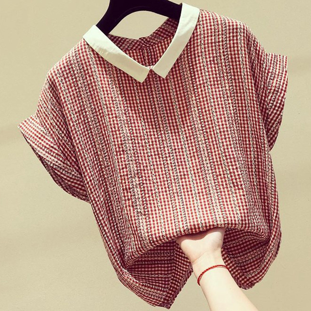 初色  格子娃娃領雪紡衫-共3色-(M-XL可選)