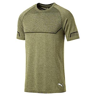 PUMA-男性訓練系列ENERGY無接縫短袖T恤-橄欖綠(麻花)-歐規