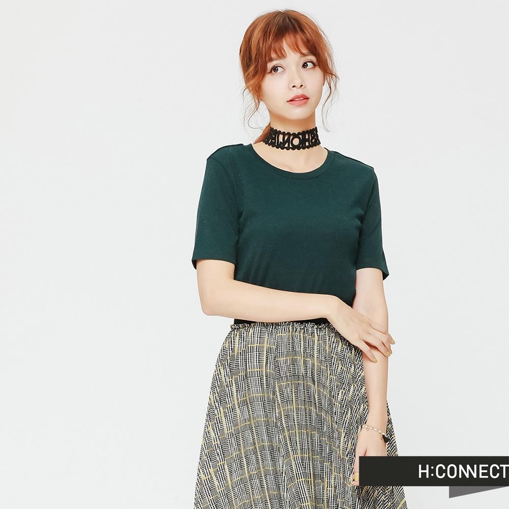 H:CONNECT 韓國品牌 女裝 - 修身薄針織短上衣 - 綠(快)