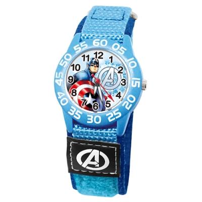 Disney迪士尼 Marvel漫威美國隊長自黏織帶錶33mm藍殼白字