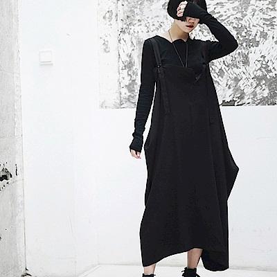 秋冬暗黑風不規則寬鬆背帶裙/設計所在/Q-387