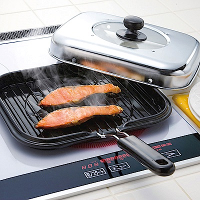 防煙設計 摺疊式把手萬用燒烤鍋28cm