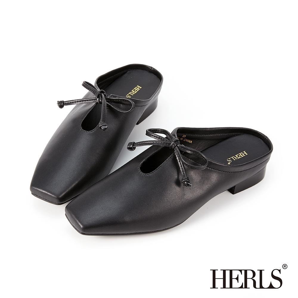 HERLS穆勒鞋-全真皮蝴蝶結鏤空方頭穆勒鞋拖鞋-黑色