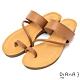 DIANA質感牛皮簡約繞帶圓頭夾腳平底涼拖鞋-簡約有型–棕 product thumbnail 1