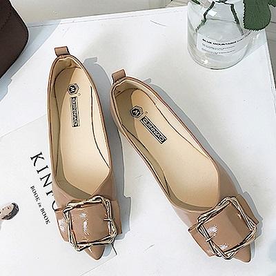 韓國KW美鞋館 輕柔好感印象樂活舒適平底鞋-卡其色