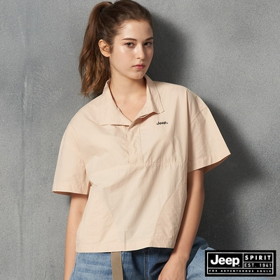 Jeep 女裝 清新質感寬版短袖襯衫-淺卡其
