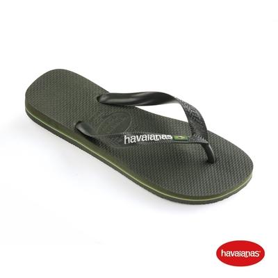 Havaianas哈瓦仕 拖鞋 夾腳拖 人字拖 巴西 男鞋 女鞋 橄欖綠 4110850-4896U Brasil Logo 巴西國旗