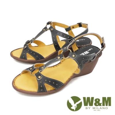 W&M(女) 優雅繞踝坡跟厚底彈力涼鞋 女鞋 -藍 (另有紅)