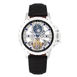 Manlike 曼莉萊克 藍寶石單橋鏤空雕花機械腕錶【銀色/黑帶/黑面】