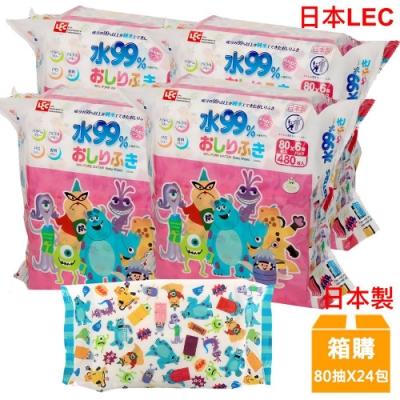 日本LEC 迪士尼怪獸電力公司-純水99%濕紙巾-80抽x24包/箱