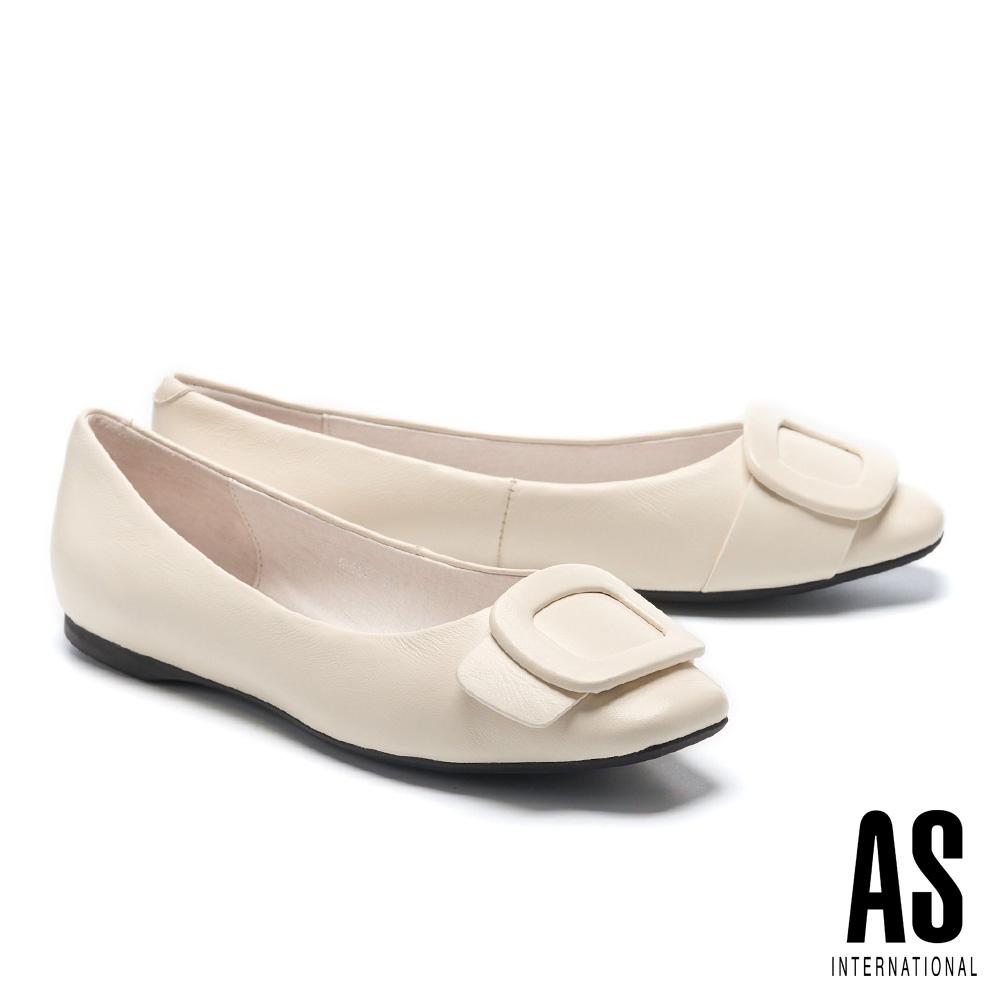 平底鞋 AS 優雅氣質方型帶釦全真皮方頭平底鞋-白