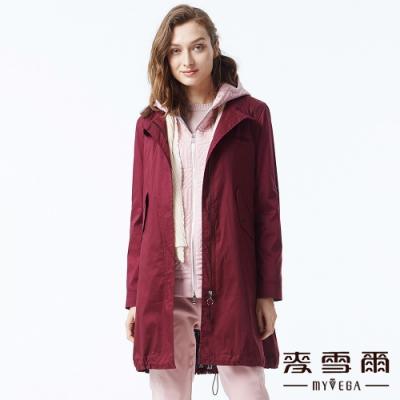 麥雪爾 棉質立領純色風衣外套-紅