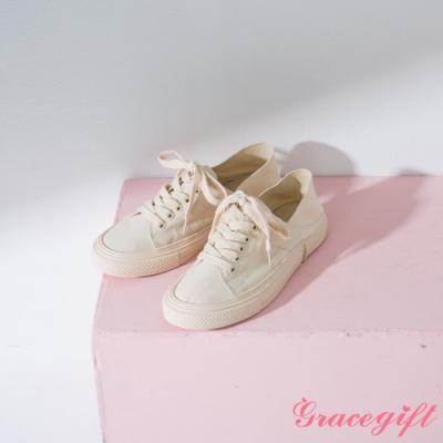Grace gift-帆布綁帶2WAY休閒鞋 米白
