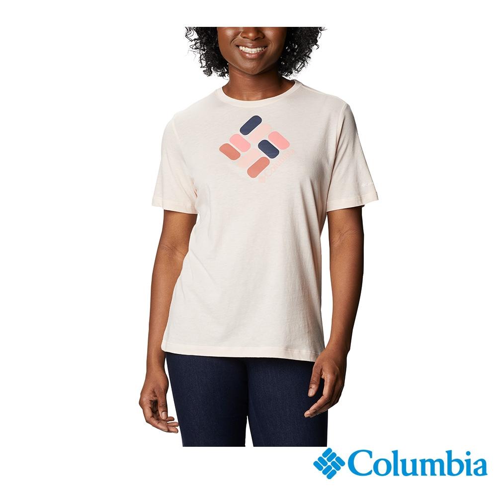 Columbia 哥倫比亞 女款- LOGO短袖上衣-3色 UAR31200 (粉紅)