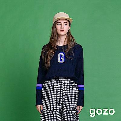 gozo 珍珠裝飾字母暗花織紋上衣(二色)