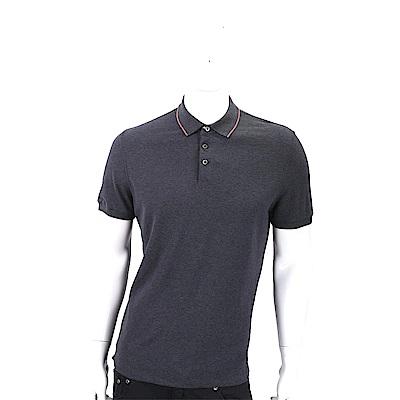 BRUNELLO CUCINELLI 條紋細節深灰色棉質珠地POLO衫