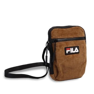 Fila 斜背包 Corduroy Shoulder Bag 斐樂 外出 輕便 小包 穿搭 燈心絨 棕 黑 BSU9006OR
