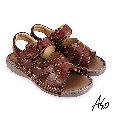 A.S.O 機能休閒 手縫氣墊雙縫厚底休閒男涼鞋-茶