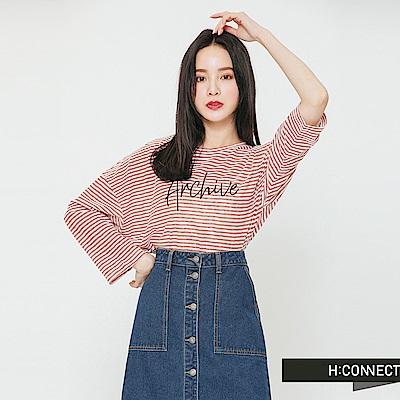 H:CONNECT 韓國品牌 女裝-細條紋印字長袖T-shirt-紅