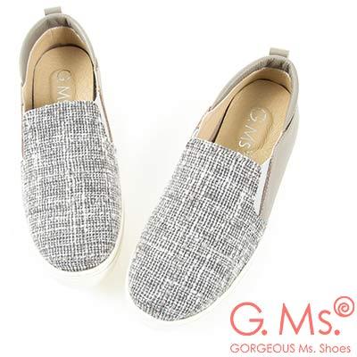 G.Ms. MIT系列-牛皮拚接格紋毛呢懶人休閒鞋-灰色