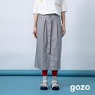 gozo 前開岔配色壓線高腰腰帶長裙(二色)