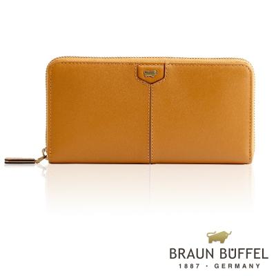 BRAUN BUFFEL - 蕾絲莉系列12卡拉鍊長夾 - 深桔黃