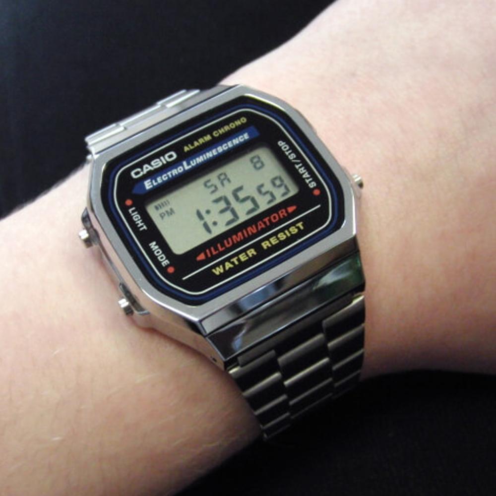 CASIO 復古經典潮流城市新時尚數位腕錶 (A-168WA-1WDF)銀色版/36.3mm