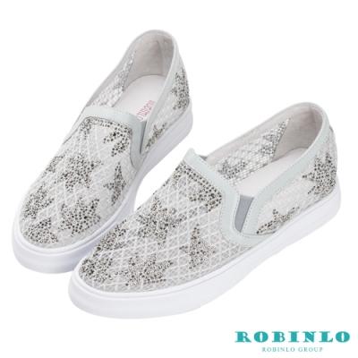 Robinlo 小清新楓葉鑲鑽休閒鞋 灰色