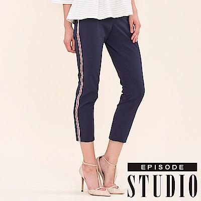 EPISODE Studio - 側邊線條設計七分褲(深藍)
