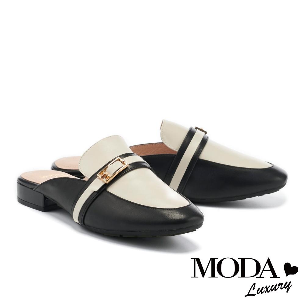 拖鞋 MODA Luxury 簡約個性撞色金屬飾釦低跟穆勒拖鞋-黑