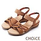 CHOiCE 親膚休閒舒適 細緻牛皮造型鬆緊帶涼鞋-棕色
