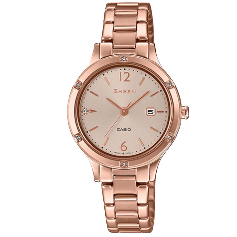 SHEEN 溫柔婉約藍寶石玻璃設計蜜桃金不鏽鋼腕錶(SHE-4533PG-4A)/36.7