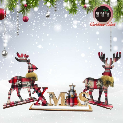 交換禮物-摩達客 木質蘇格蘭格紋風彩繪聖誕擺飾(XMAS英文字牌+麋鹿一對組/三入組合)