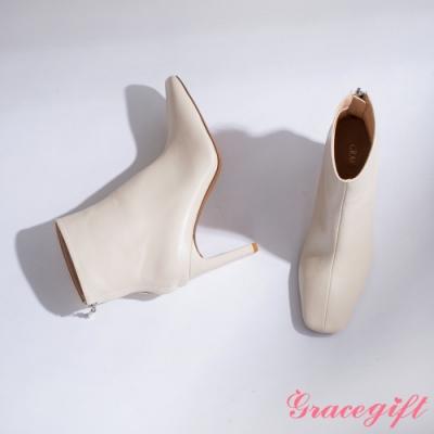 Grace gift-方頭扁跟皮革短靴 米白
