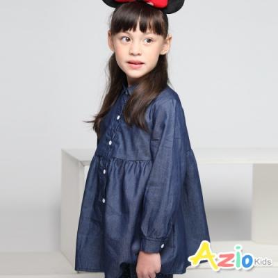 Azio Kids 女童 上衣 牛仔連身縮腰排釦長版長袖上衣 (藍)