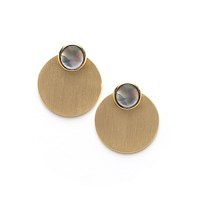 LOVERS TEMPO加拿大品牌 DISC-O灰色珍珠貝 啞光圓牌金色耳環