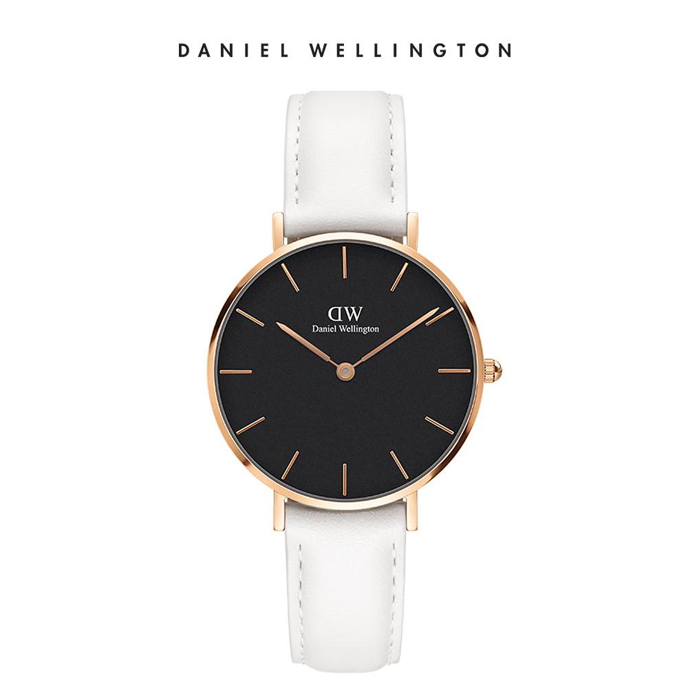 DW 手錶 官方旗艦店 32mm金框 Petite 純真白真皮皮革錶