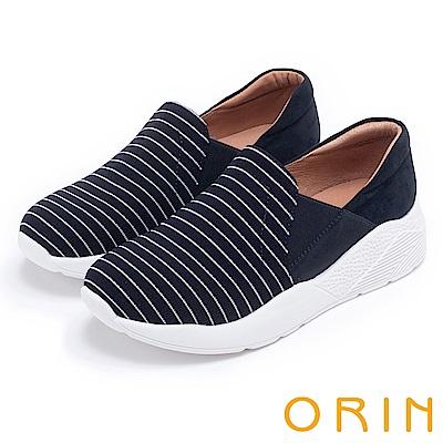 ORIN 休閒時尚風 百搭俐落條紋厚底休閒鞋-藍色