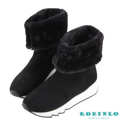 Robinlo 嚴選牛絨厚毛中筒雪靴 黑色