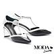 高跟鞋 MODA Luxury 摩登雙色T字帶羊皮小方頭高跟鞋-黑 product thumbnail 1