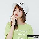 H:CONNECT 韓國品牌- 刺繡標語漁夫帽-白