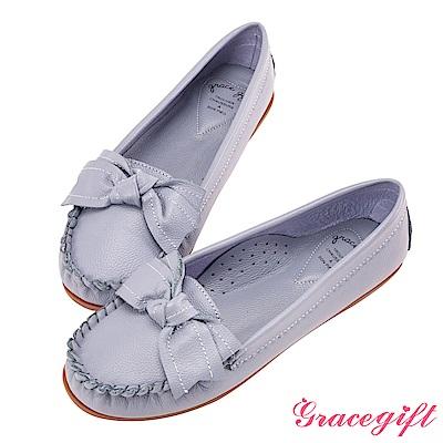 Grace gift-全真皮蝴蝶結豆豆底莫卡辛鞋 藍