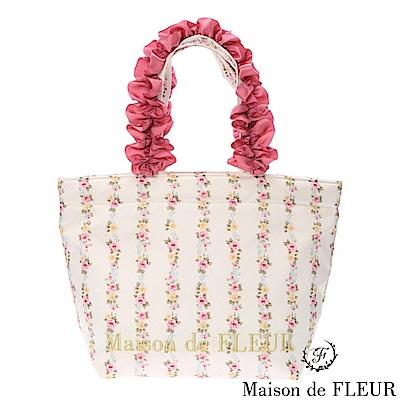 Maison de FLEUR 浪漫碎花荷葉邊手提包