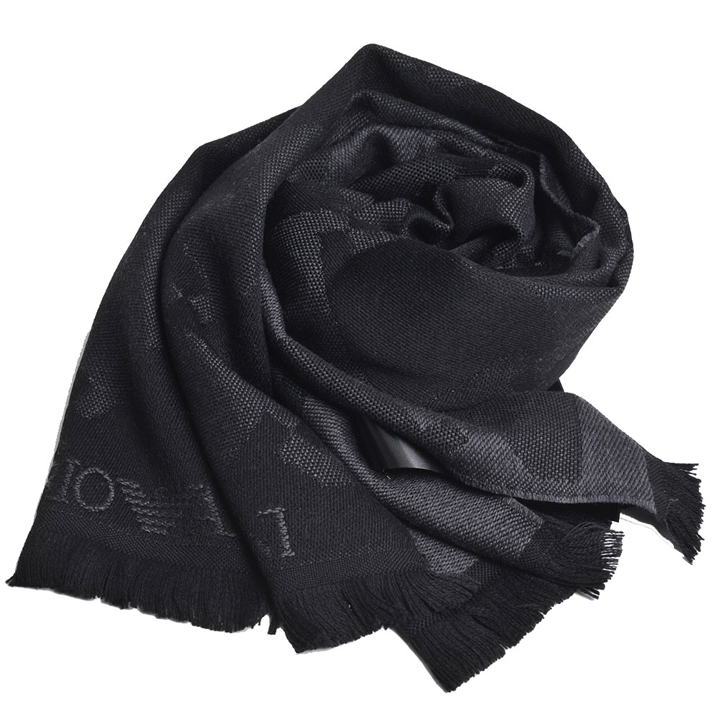 EMPORIO ARMANI 義大利製字母老鷹LOGO圖騰高質感羊毛圍巾(黑色系)