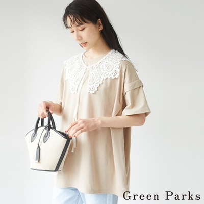 Green Parks 可拆綁結蕾絲領分層袖設計T恤
