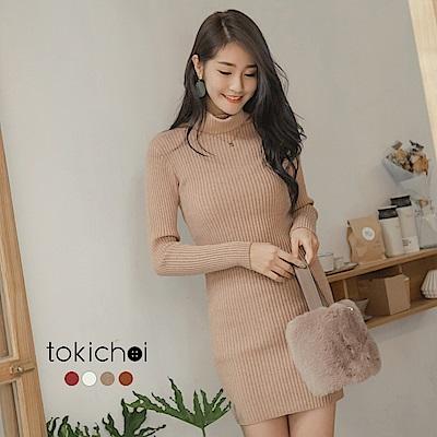 東京著衣 性感歐膩彈力貼身高領針織洋裝(共四色)