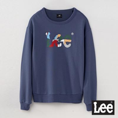Lee 彩色LOGO拼接長袖圓領厚TEE RG 男款 灰藍色