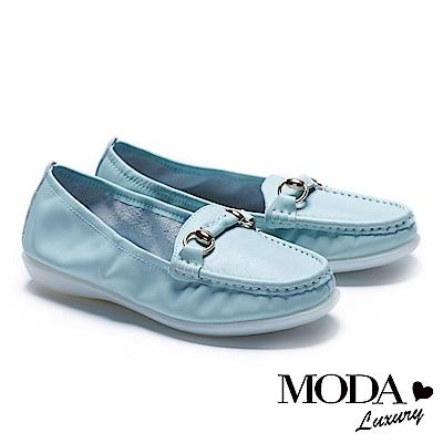 休閒鞋 MODA Luxury 簡約百搭馬銜釦全真皮莫卡辛厚底休閒鞋-綠
